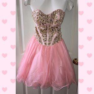 Blush short formal dress